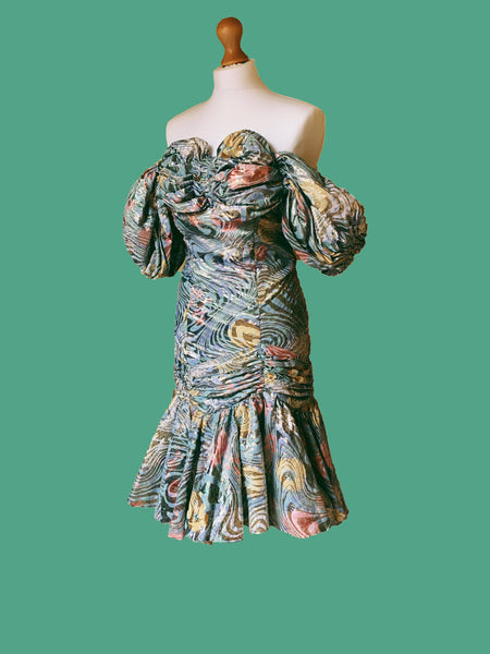 80s LAME GOLD AND GREEN FLORAL, PUFF SHOULDERED DRESS