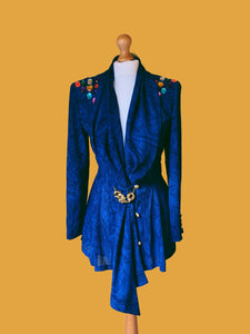 BLUE VOGUE 80s SHOULDER PAD GEM BLOUSE