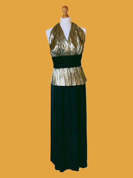 80s GOLD AND BLACK HALTERNECK LAME EVENING GOWN