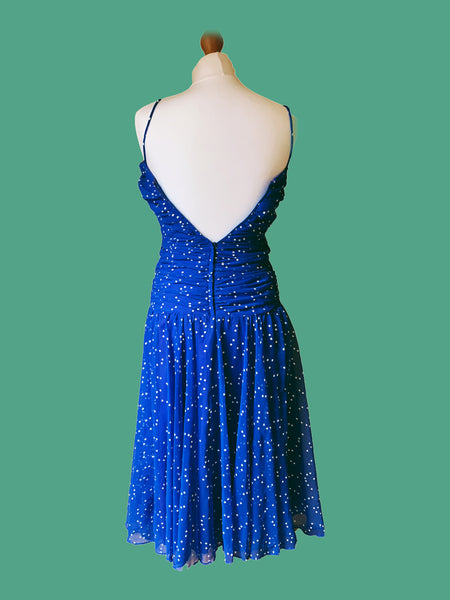 80s BLUE RUCHED John Charles Dress