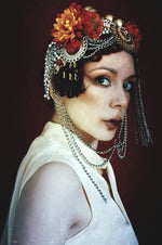 Bespoke vintage jewels and chains Flower headpiece
