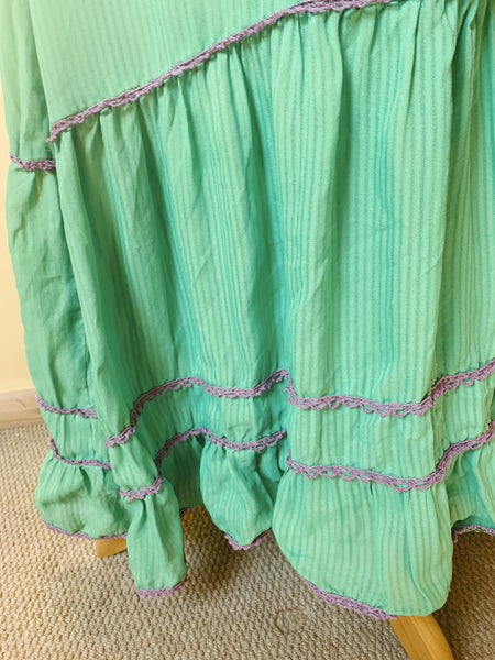 70s GREEN AND PURPLE THIN STRIPED LONG SLEEVE LONG PEASANT DRESS