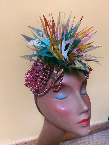 Spikey foil metallic pink and silver headpiece