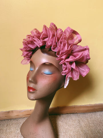 pink ruffle Headband - sample