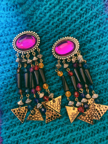 80s clip on dangle gypsy queen earrings