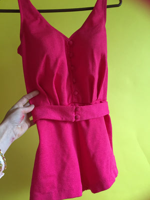 vintage PINK swimsuit swimming costume 50s