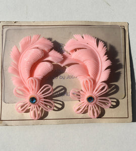 Deadstock 50s Vintage Plastic Baby Pink Feather Diamanté Clip on Earrings