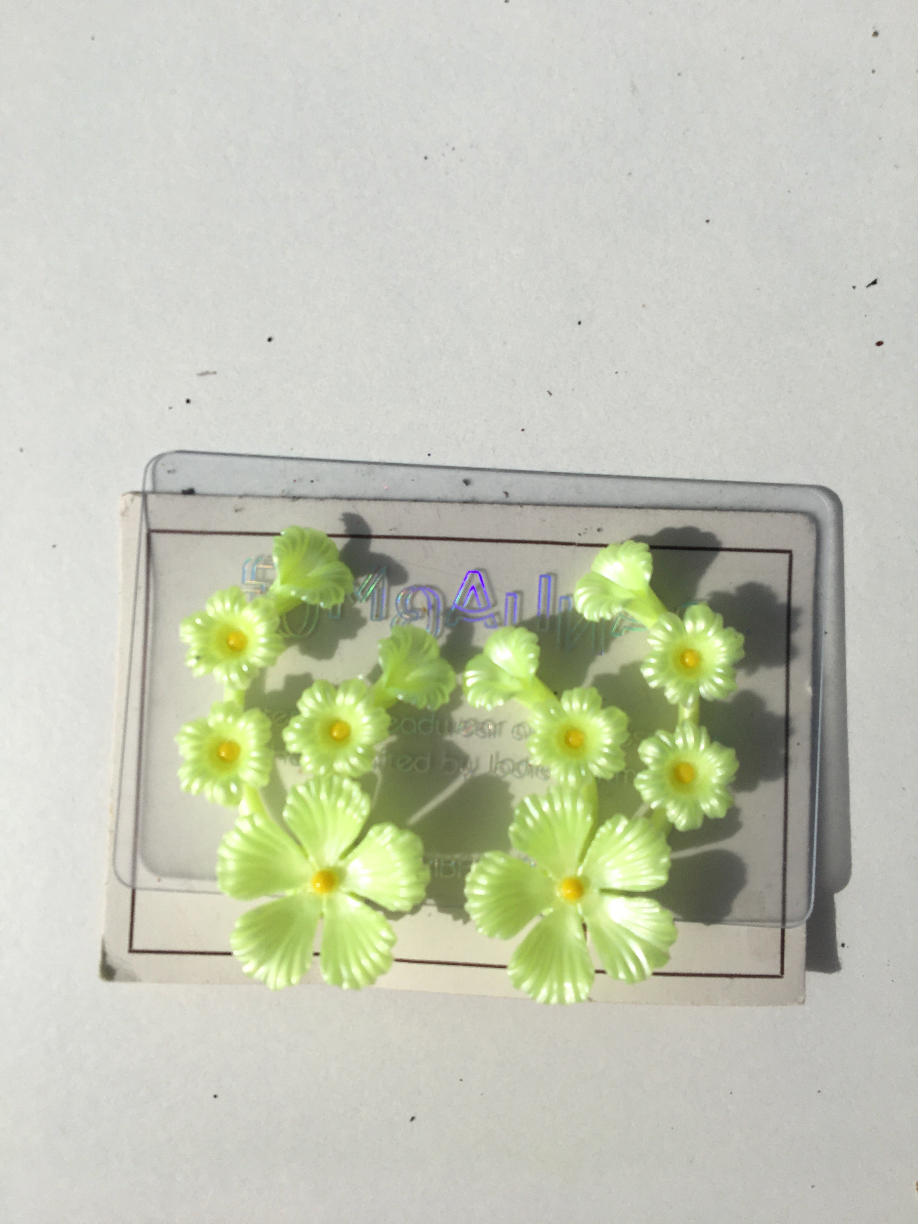 Deadstock 50s Vintage Plastic Neon Florescent Earrings