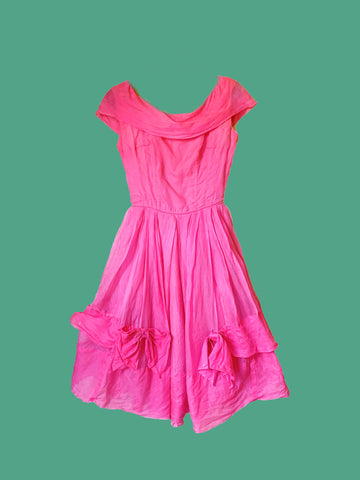 Hot Pink Silk original 50s Prom Dress