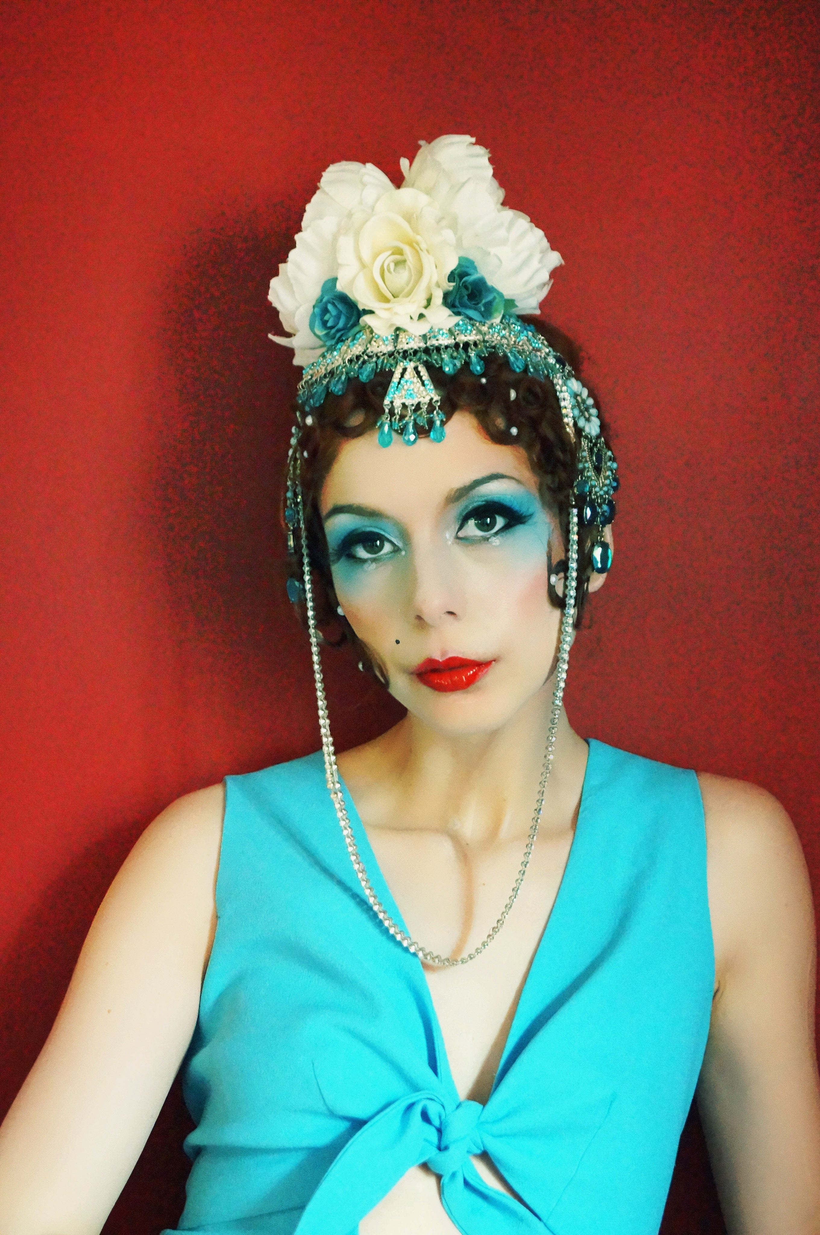 1920s inspired white and blue Headdress