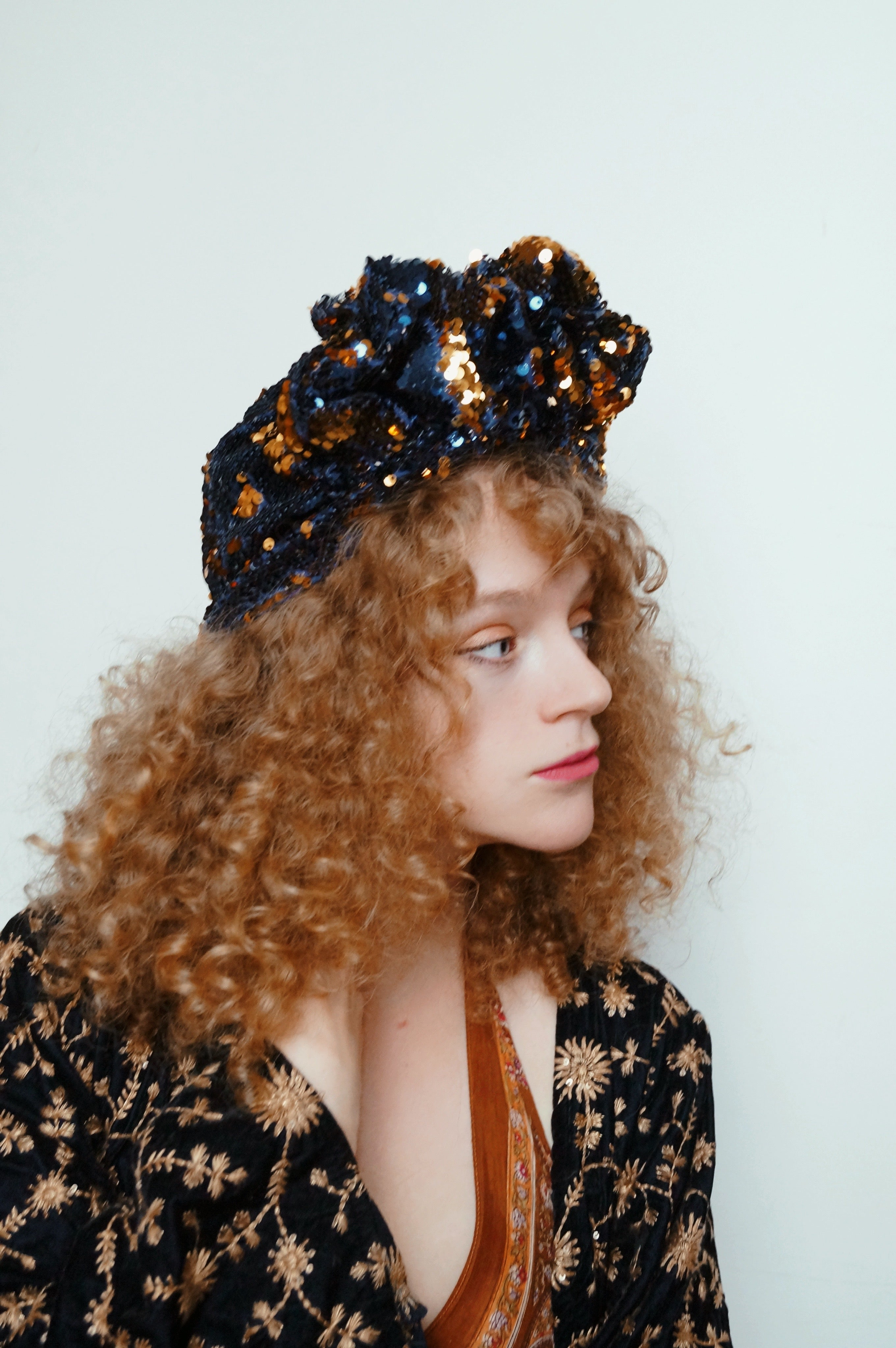Midnight Blue / Gold sequin Party Turban