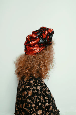 Red / Black sequin Party Turban