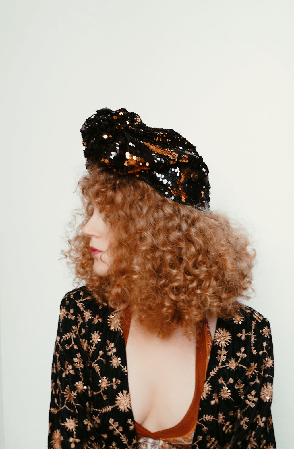 Gold / Black sequin Party Turban