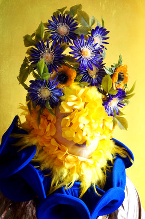 Vintage Flower blue and yellow floral crown