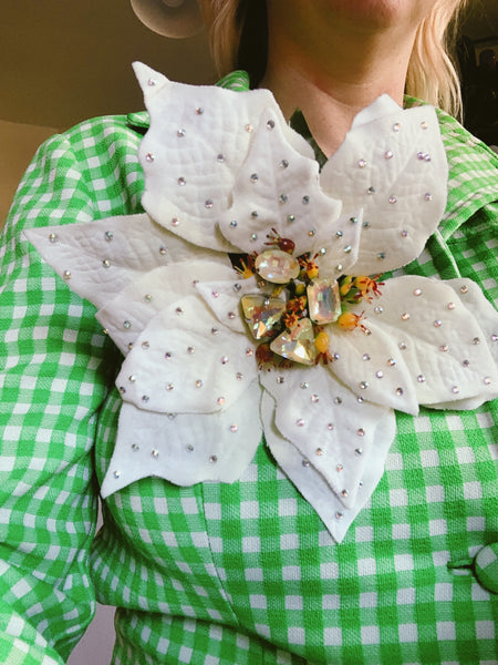 White jewelled Poinsettia Brooch *Order before 18th for Christmas post*