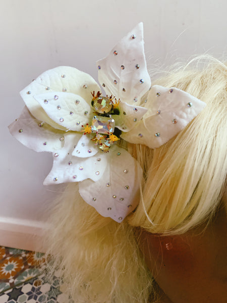 White Jewelled Poinsettia Hair Clip *Order before 18th for Christmas post*