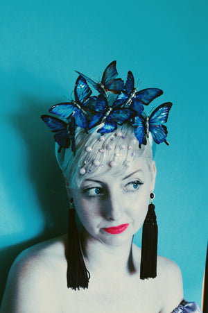 Metallic blue butterfly / butterflies headband / alice band / satin crown