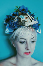 Vintage blue floral bejewelled origami Beaded Pearl Crown