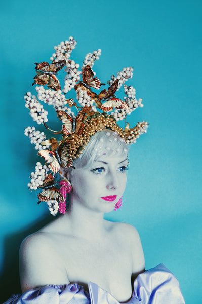 Gold metallic butterflies and gold beads with pink blossom headdress