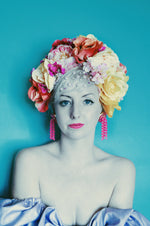 Floral Party pink, Yellow, White Reversible Headdress /flower Crown