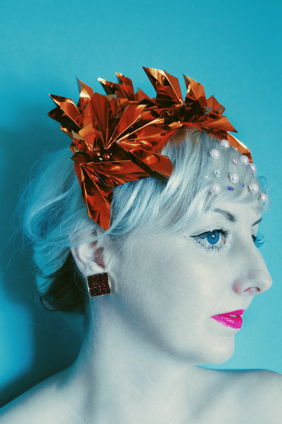 Metallic Orange Origami Crown / Headdress / Christmas / NYE