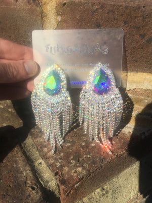 OTT Iridescent Gem Dangle Chandelier Earrings