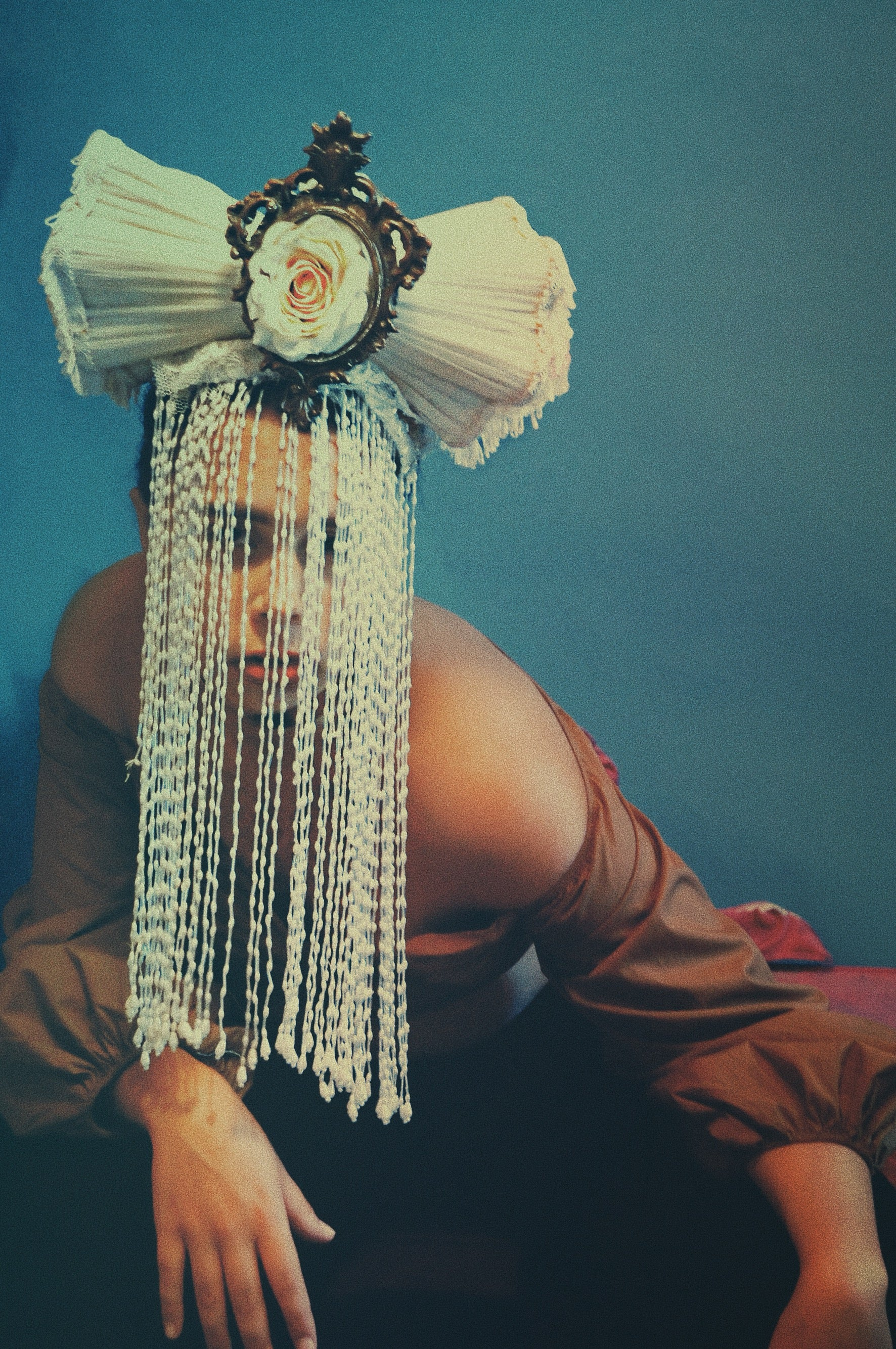 Vintage Lampshades White beaded Headdress