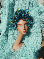 Frida Blue vintage headdress / crown / headpiece / bridal / festival / ascot