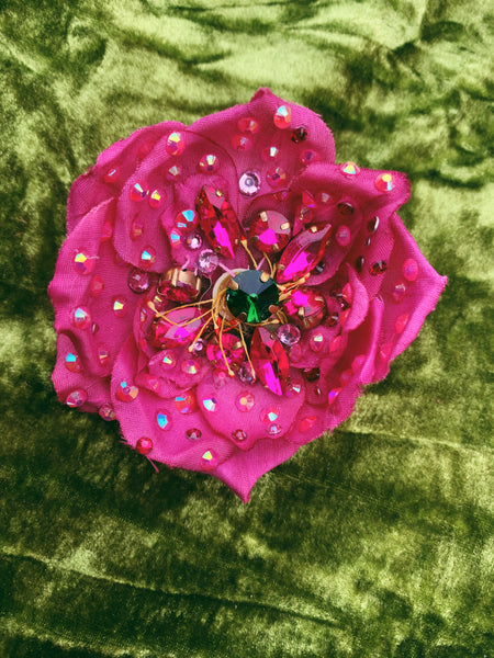 Heavily Bejewelled hand-stitched Rose fuchsia Brooch