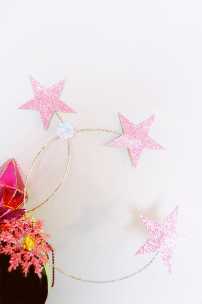 Vintage inspired pink star headdress