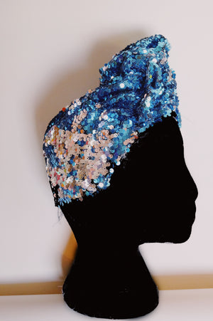 Blue / Silver sequin Party Turban