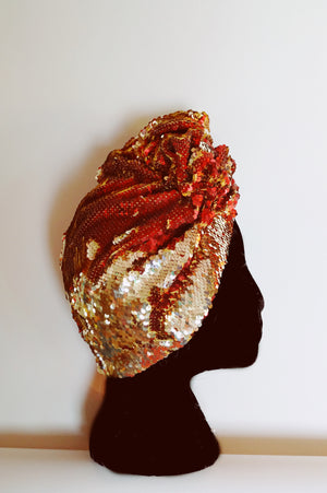 Style 2: Red / Gold sequin Party Turban
