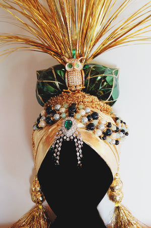 Gold and green BESPOKE TURBan