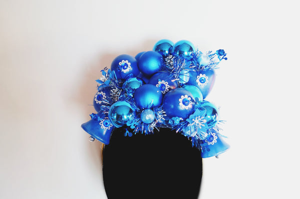 Vintage blue and silver baubles headdress