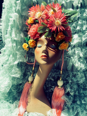 Pink Yellow Plastic Vintage Tassel Flower Crown
