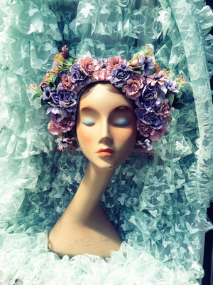 """Floral Whimsy"" 'Lilac Wine' Vintage Floral Headdress Kit and Tutorial"