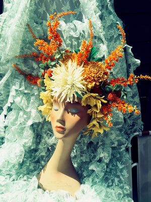 Wild Flower headdress / Autumnal / orange / tribal / flower crown / headdress