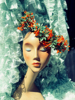 Orange buds vintage flower reversible headpiece