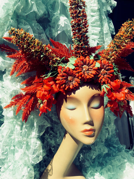 Red Wildflower floral headdress / Autumnal / tribal / flower crown / headdress