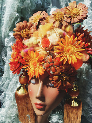 Bespoke orange and Gold floral wool Turban Tassel Headpiece