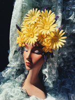 Yellow 60s daisies and Lavender Vintage Flower Headdress