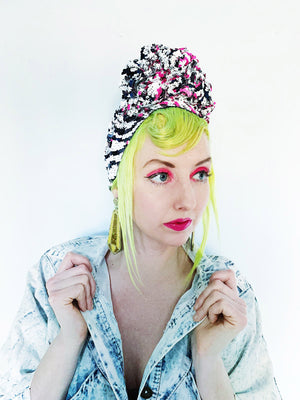*LIMITED EDITION* Zebra Neon Pink Print Sequin Turban