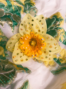 Marie Curie Yellow bejewelled Daffodil Brooch