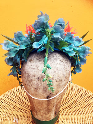 Vintage flowers Headdress in coral blue and yellow