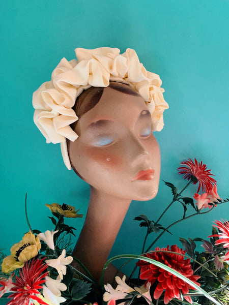 Lemony Cream Silk Ruffle headband - Shine-Sheen finish - FULL style