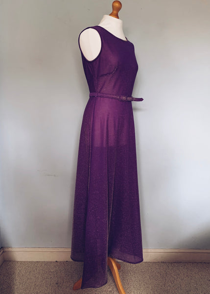 70s Glitter shimmy Sheer Purple Maxi dress