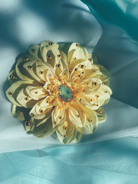 Yellow and Gold chrysanthemum Bejewelled Brooch and Hair Clip