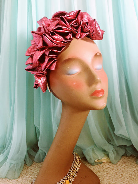Glossy Pink Metallic Lame Ruffle Party Headband *NEW YEAR DELIVERY*