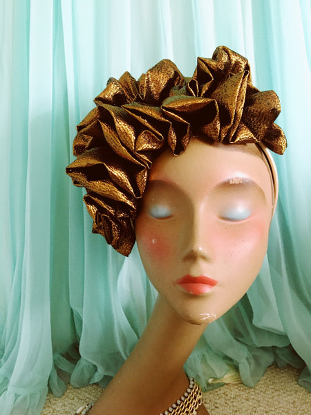 Bronze-Brown Metallic Lame Ruffle Party Headband *NEW YEAR DELIVERY*