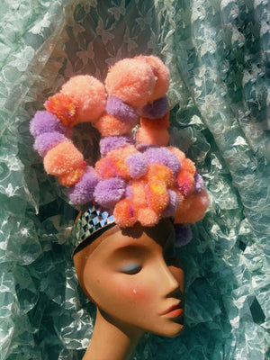 Pastel Peach and Lilac sugar sweet pom pom headband